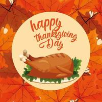 Turkiet middag på tacksägelsedagen med blad