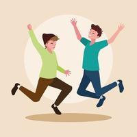 grupp unga män glada hoppar firar