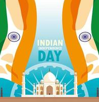 indisk självständighetsdag affisch med flagga och Taj Majal moské vektor