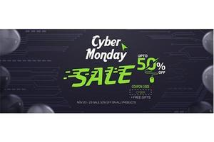 Cyber Monday-Social Media-Verkaufs-Fahnen-Anzeigen-Vektor-Schablonen-Design