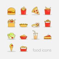Uppsättning färgglada handritade doodle stil snabbmat ikoner