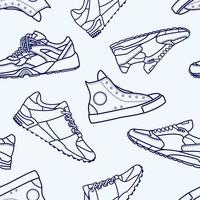 Seamless mönster med sneaker sko platt linje Stroke ikonen vektor