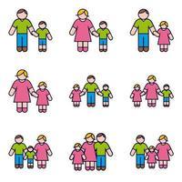 Föräldrar med barn Ikonuppsättning