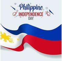 Isolerad filippinsk flagga som viftar med realistiskt tyg 3d vektor