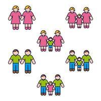 Gleichgeschlechtliche Familie Icon Set vektor