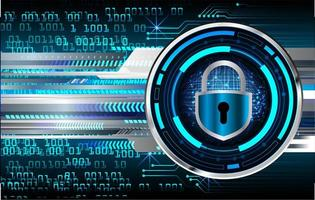 Stängd hänglås på digital bakgrund, cybersäkerhet vektor