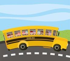 skolbuss med barn i vägen vektor