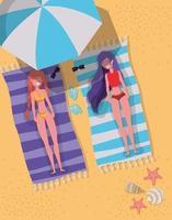 Flickor med badkläddesign i sommar vektor