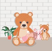 liten baby flicka med fyllda leksaker karaktär