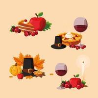 Thanksgiving mat uppsättning ikoner vektor