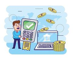 Mann mit Datenfernsprecherinformationen und Computer mit Münzen