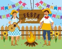 Frau und Mann mit Gitarre und Akkordeon zum Festival vektor