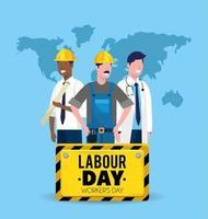 man byggare med mekaniker och läkare till arbetsdag