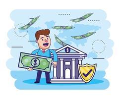 Mann mit Rechnung und Bank mit Sicherheitsschild vektor