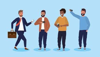 Set Männer mit Smartphone-Technologie und Frisur vektor