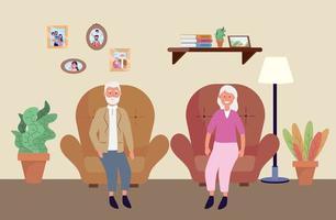 gammal kvinna och man i stolen med växter vektor