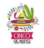 mexikanischer Hut mit Paprikapfeffern und Kaktus zum Ereignis vektor