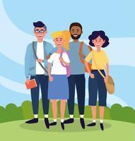 Universitätsleute mit Freizeitkleidung und Taschen