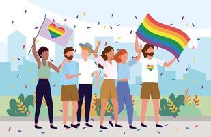 lgbt community tillsammans med regnbågsflaggor vektor