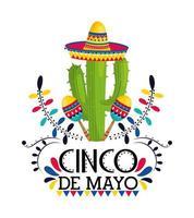 Kaktuspflanze mit Hut und Maracas zum Ereignis vektor
