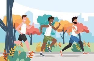 Männer, die Übungsübungsaktivität laufen