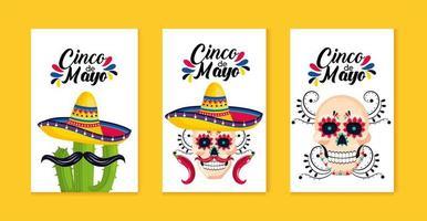 ställa in mexikanska traditionella kort till evenemangsfirande vektor