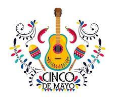 mexikanische Gitarre mit Maracas und Chilischoten vektor