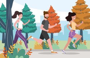 Mann und Frau üben Bewegung und Laufen