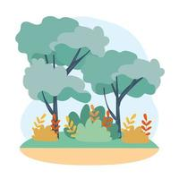 Bäume mit Zweigen, Blättern und Naturbüschen