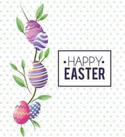 Frohe Ostern Emblem und Esther Eier vektor