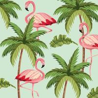 exotiska flamingo med palmträdbakgrund