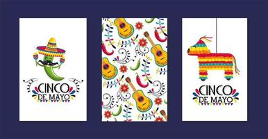 setze mexikanische Karten mit traditioneller Dekoration auf event vektor