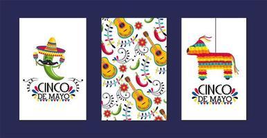 ställa in mexikanska kort med traditionell dekoration till evenemang