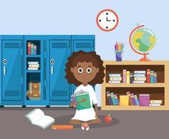 tjej med skåp och utbildningsböcker i klassrummet