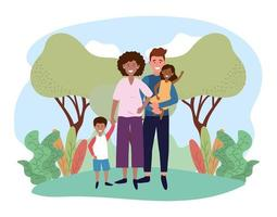 lyckliga man- och kvinnapar med sina barn