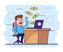 man sitter med laptop i skrivbordet och mynt