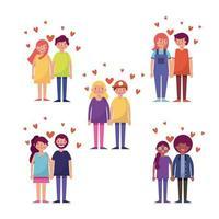 Uppsättning av unga par i kärlek