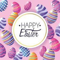 Glücklicher Ostern-Aufkleber mit Ostereidekorationshintergrund vektor