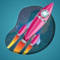 Rocket mit Flammendesign-Vektorillustration vektor