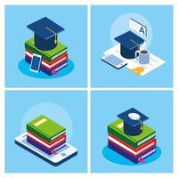 Online-Bildung stellen Icons