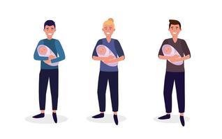 Set Männer Mutter mit ihren Babys Sohn vektor