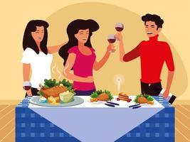 grupp vänner firar tacksägelse