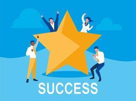 erfolgreiche Geschäftsleute, die mit Stern feiern