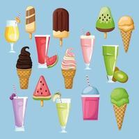 Uppsättning av glassbitar och drycker