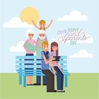 morföräldrar dagskort med familjen på bänken
