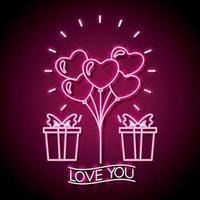 glad alla hjärtans neonskylt med gåva och hjärtformade ballonger vektor
