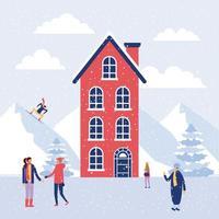 Folk i snö under vintern