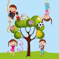 barn som leker i parktecknad film vektor
