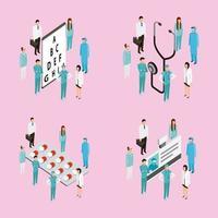 medicinska personer med stetoskop, diagram, medicin och ID vektor