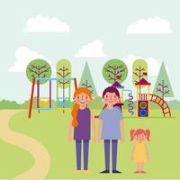 familj i park vektor